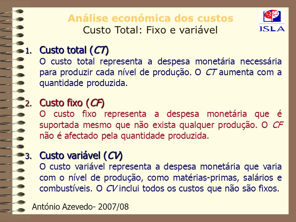 Análise económica dos custos Custo Total: Fixo e variável