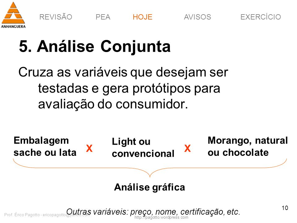 HOJE5. Análise Conjunta. Cruza as variáveis que desejam ser testadas e gera protótipos para avaliação do consumidor.