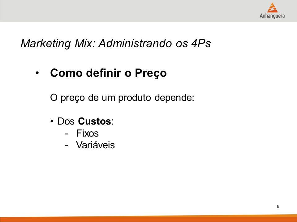Marketing Mix: Administrando os 4Ps Como definir o Preço