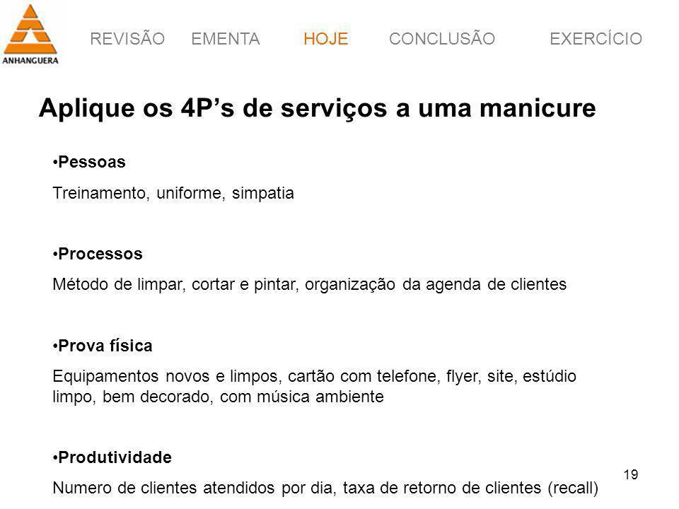 Aplique os 4P's de serviços a uma manicure