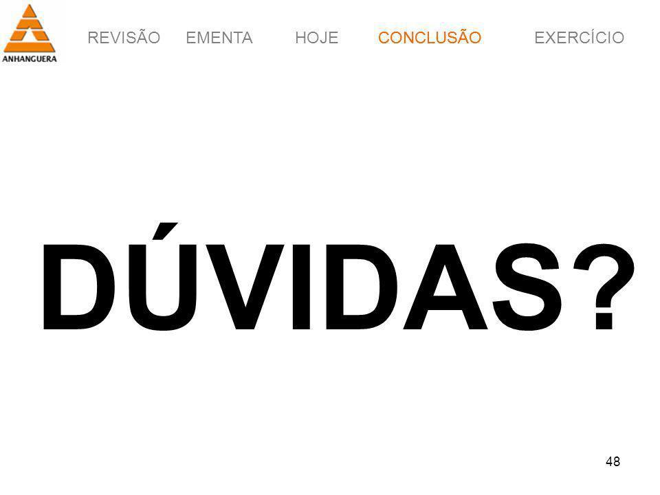 CONCLUSÃO DÚVIDAS