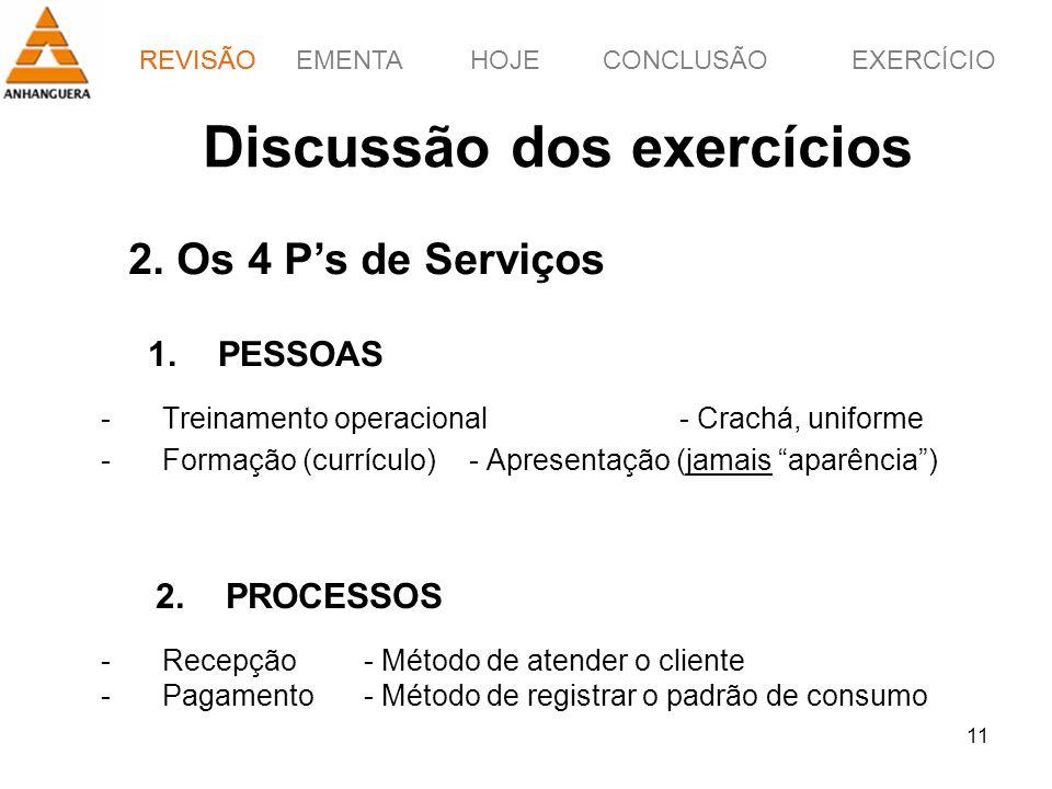 Discussão dos exercícios