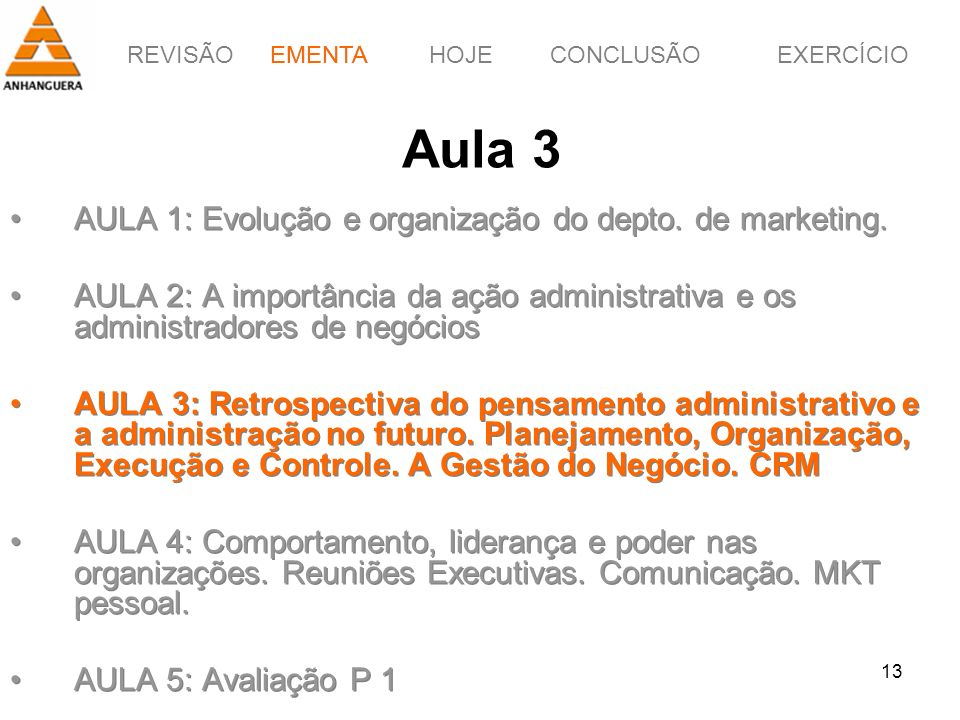 Aula 3 AULA 1: Evolução e organização do depto. de marketing.