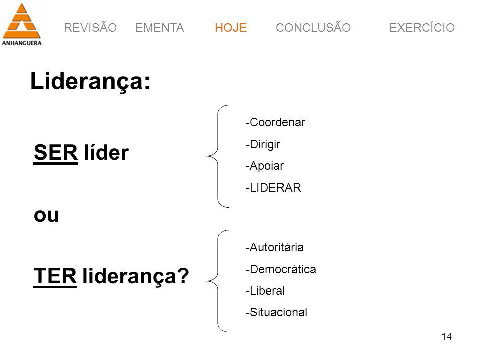 Liderança: SER líder ou TER liderança HOJE Coordenar Dirigir Apoiar
