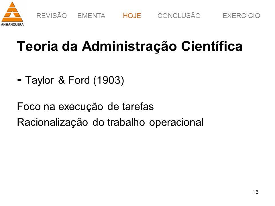 HOJE Teoria da Administração Científica - Taylor & Ford (1903) Foco na execução de tarefas Racionalização do trabalho operacional.