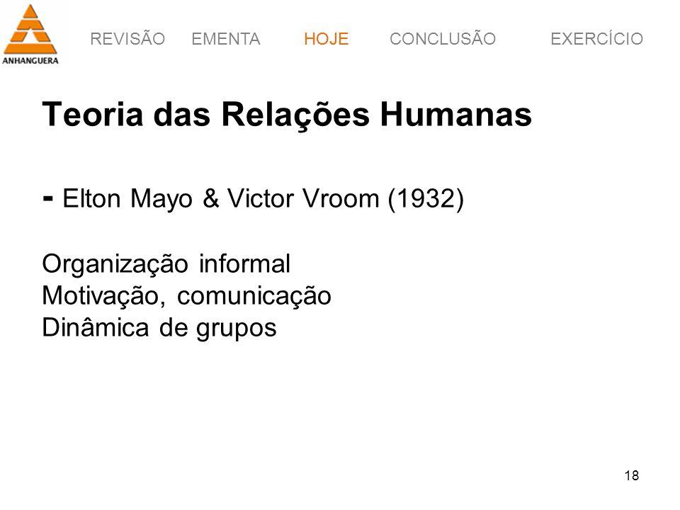 HOJE Teoria das Relações Humanas - Elton Mayo & Victor Vroom (1932) Organização informal Motivação, comunicação Dinâmica de grupos.