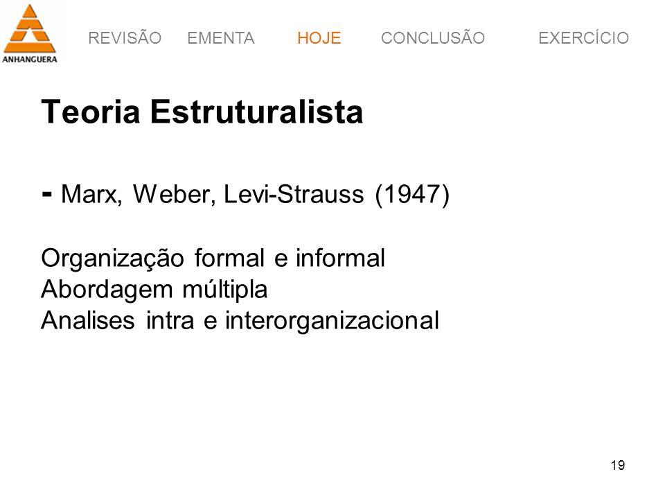 HOJE Teoria Estruturalista - Marx, Weber, Levi-Strauss (1947) Organização formal e informal Abordagem múltipla Analises intra e interorganizacional.