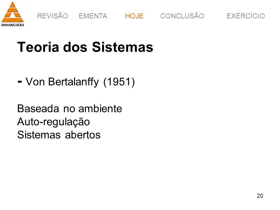 HOJE Teoria dos Sistemas - Von Bertalanffy (1951) Baseada no ambiente Auto-regulação Sistemas abertos.