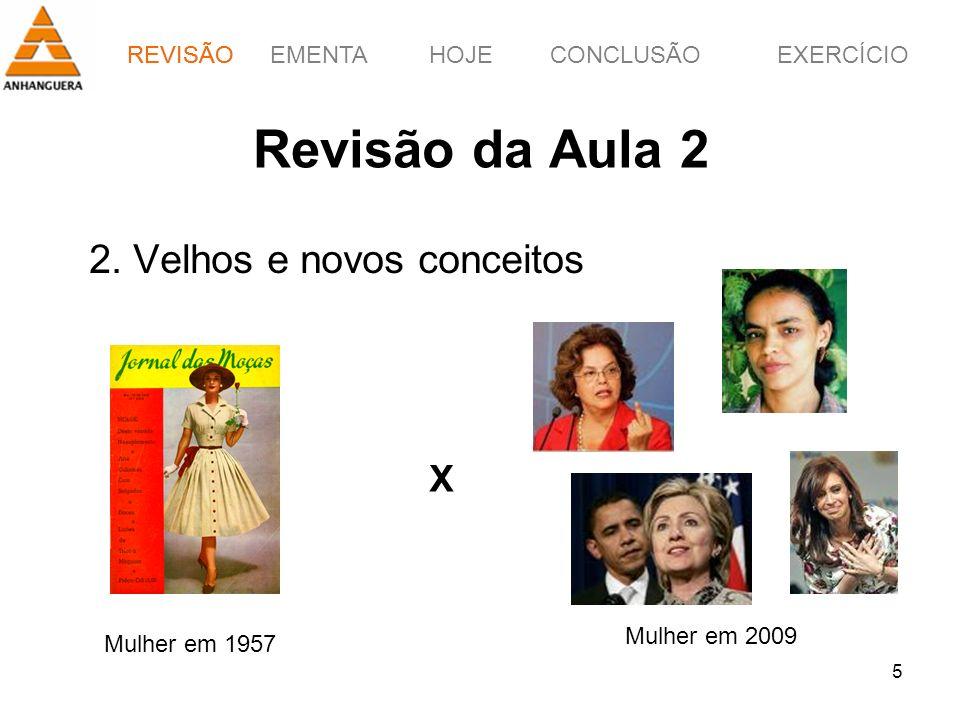 Revisão da Aula 2 2. Velhos e novos conceitos X REVISÃO Mulher em 2009