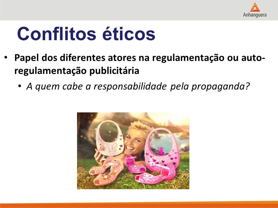 Conflitos éticos Papel dos diferentes atores na regulamentação ou auto-regulamentação publicitária.