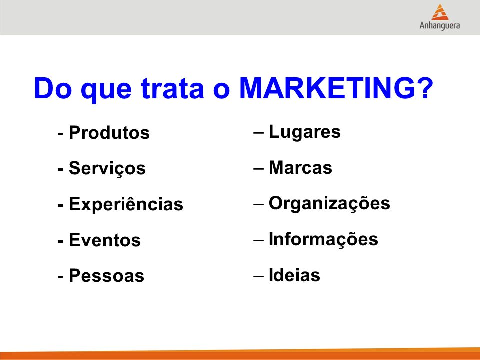 Do que trata o MARKETING
