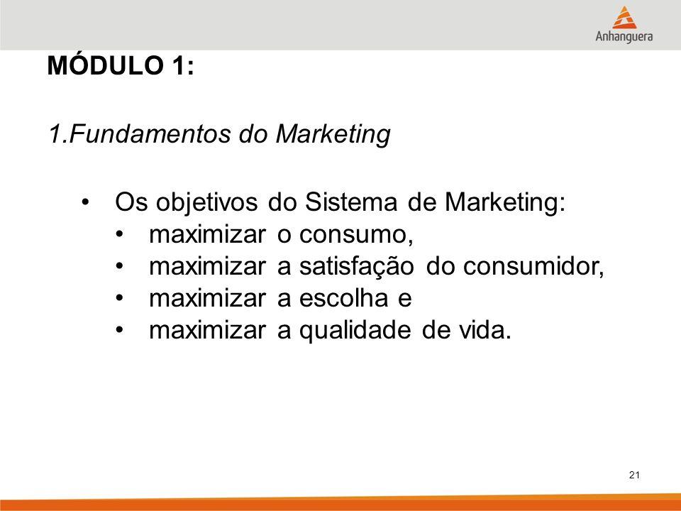 MÓDULO 1:Fundamentos do Marketing. Os objetivos do Sistema de Marketing: maximizar o consumo, maximizar a satisfação do consumidor,