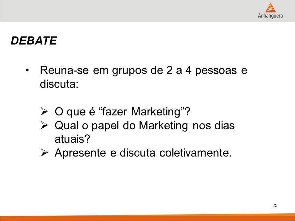DEBATE Reuna-se em grupos de 2 a 4 pessoas e discuta: O que é fazer Marketing Qual o papel do Marketing nos dias atuais