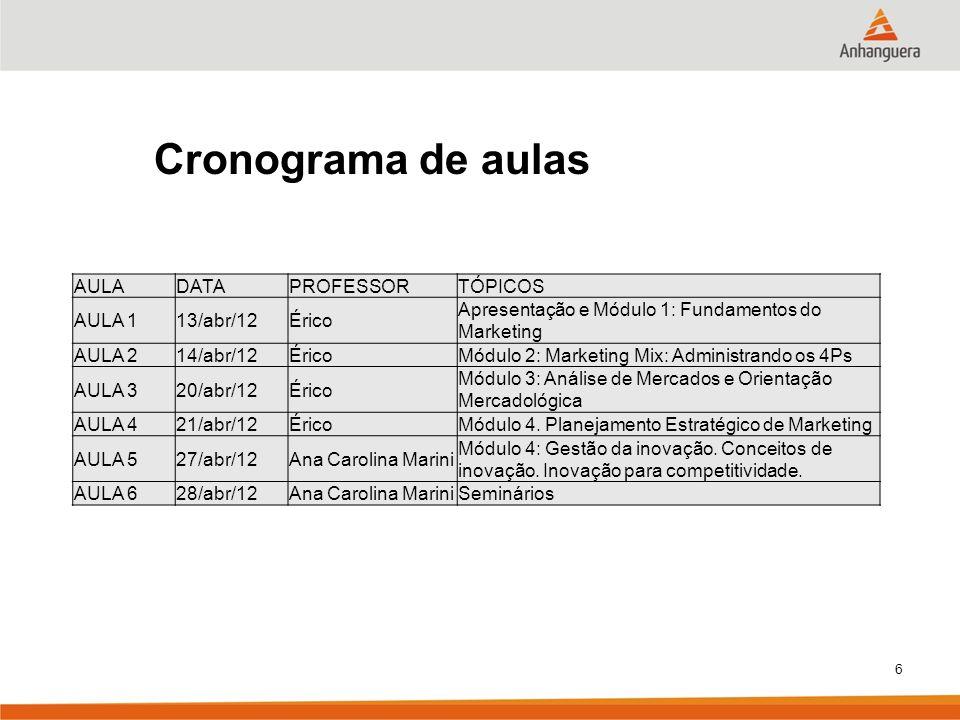Cronograma de aulas AULA DATA PROFESSOR TÓPICOS AULA 1 13/abr/12 Érico