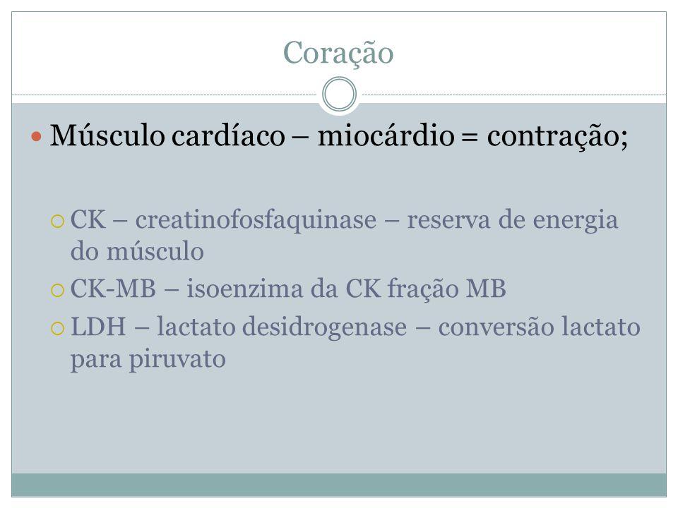 Coração Músculo cardíaco – miocárdio = contração;