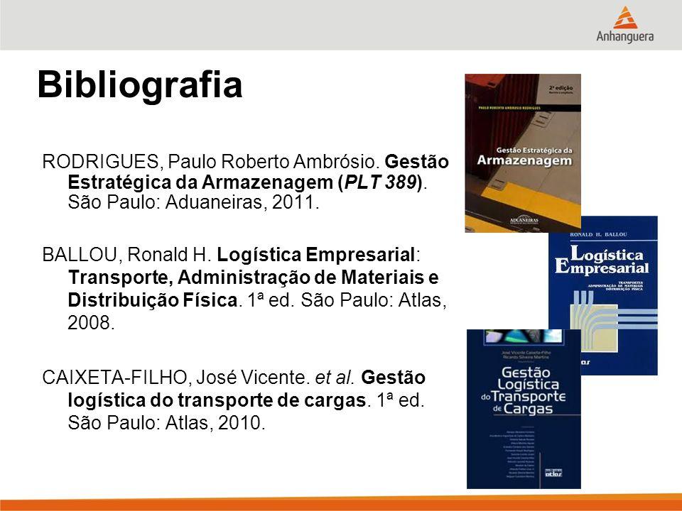 Bibliografia RODRIGUES, Paulo Roberto Ambrósio. Gestão Estratégica da Armazenagem (PLT 389). São Paulo: Aduaneiras, 2011.