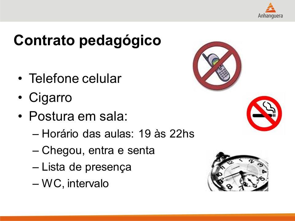 Contrato pedagógico Telefone celular Cigarro Postura em sala:
