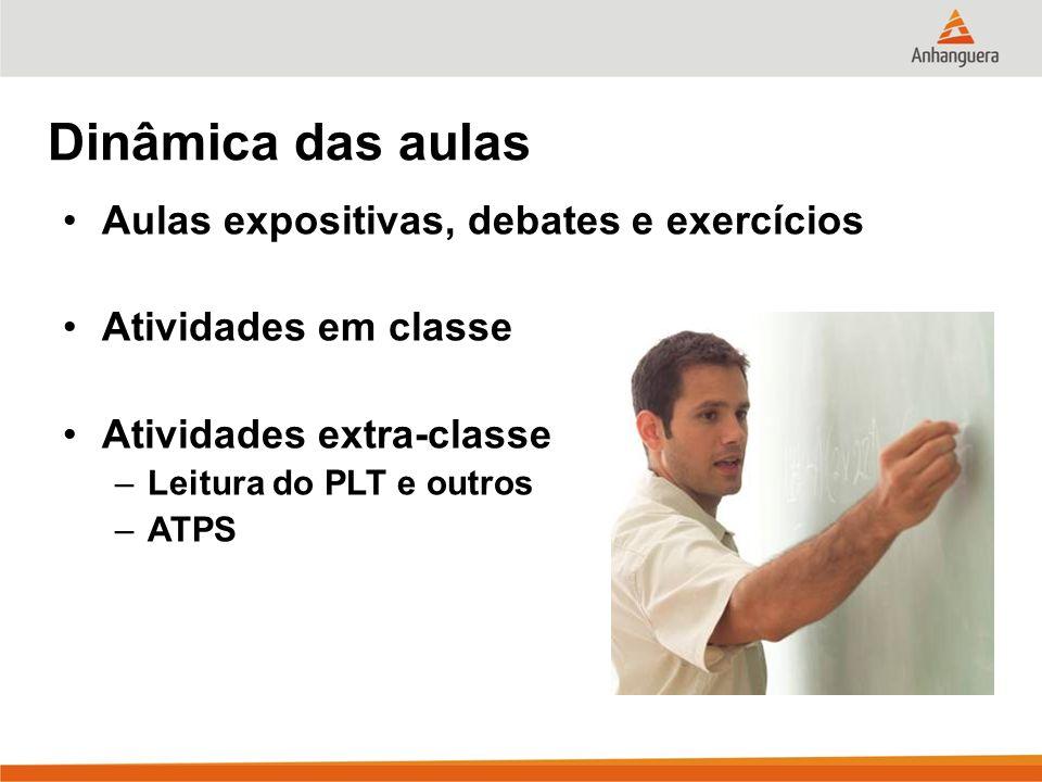 Dinâmica das aulas Aulas expositivas, debates e exercícios