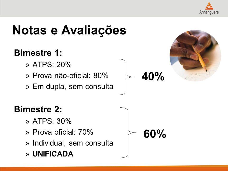 Notas e Avaliações 40% 60% Bimestre 1: Bimestre 2: ATPS: 20%