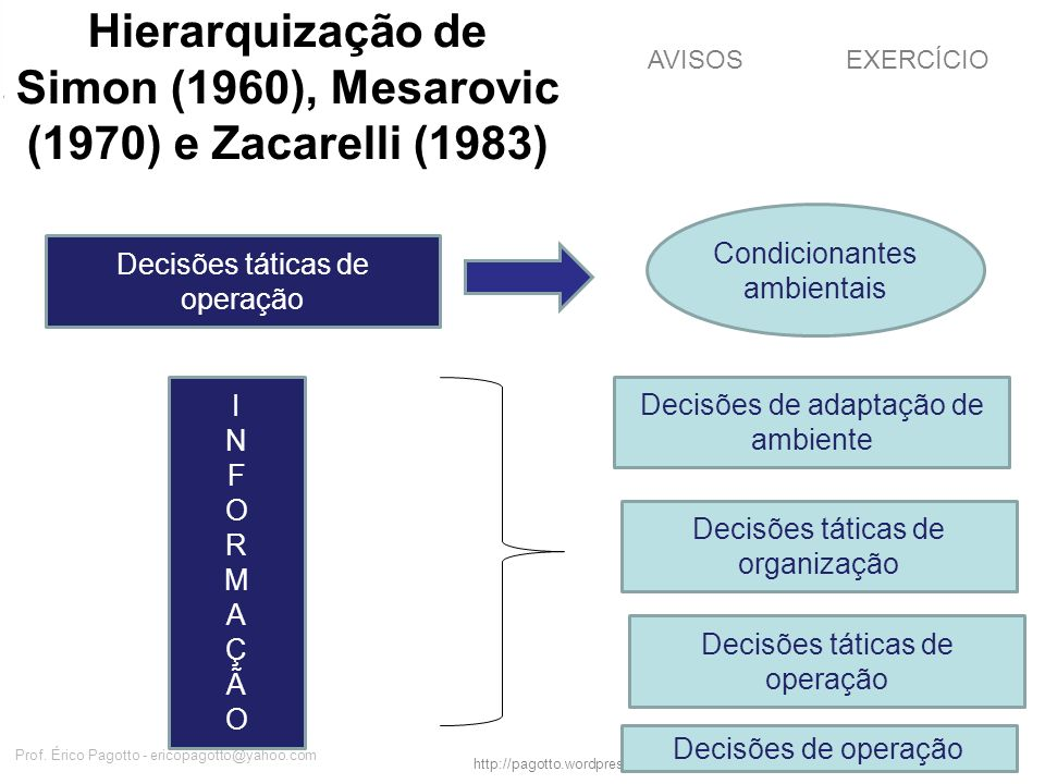 Hierarquização de Simon (1960), Mesarovic (1970) e Zacarelli (1983)