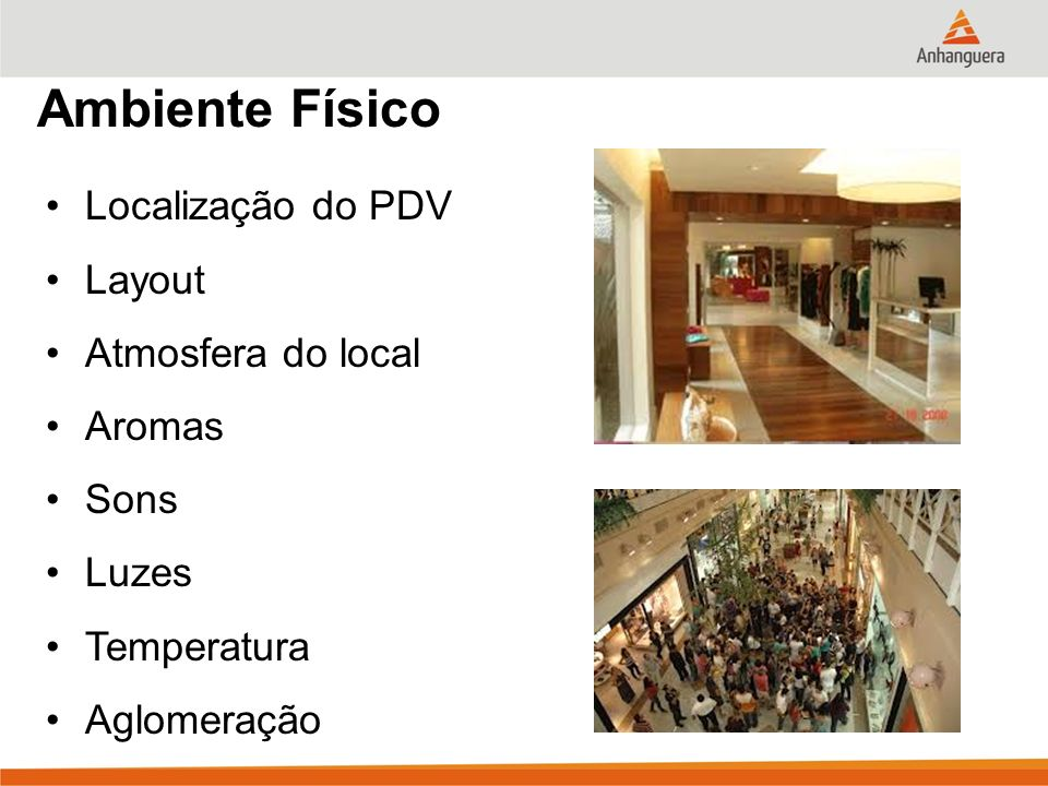 Ambiente Físico Localização do PDV Layout Atmosfera do local Aromas