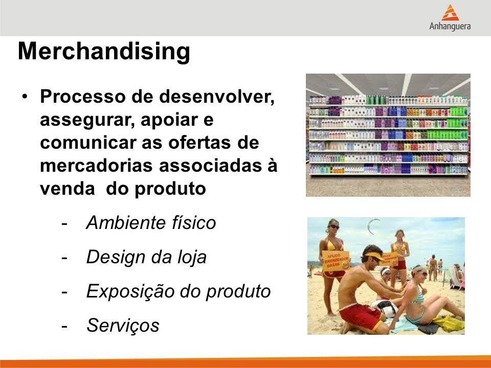 Merchandising Processo de desenvolver, assegurar, apoiar e comunicar as ofertas de mercadorias associadas à venda do produto.