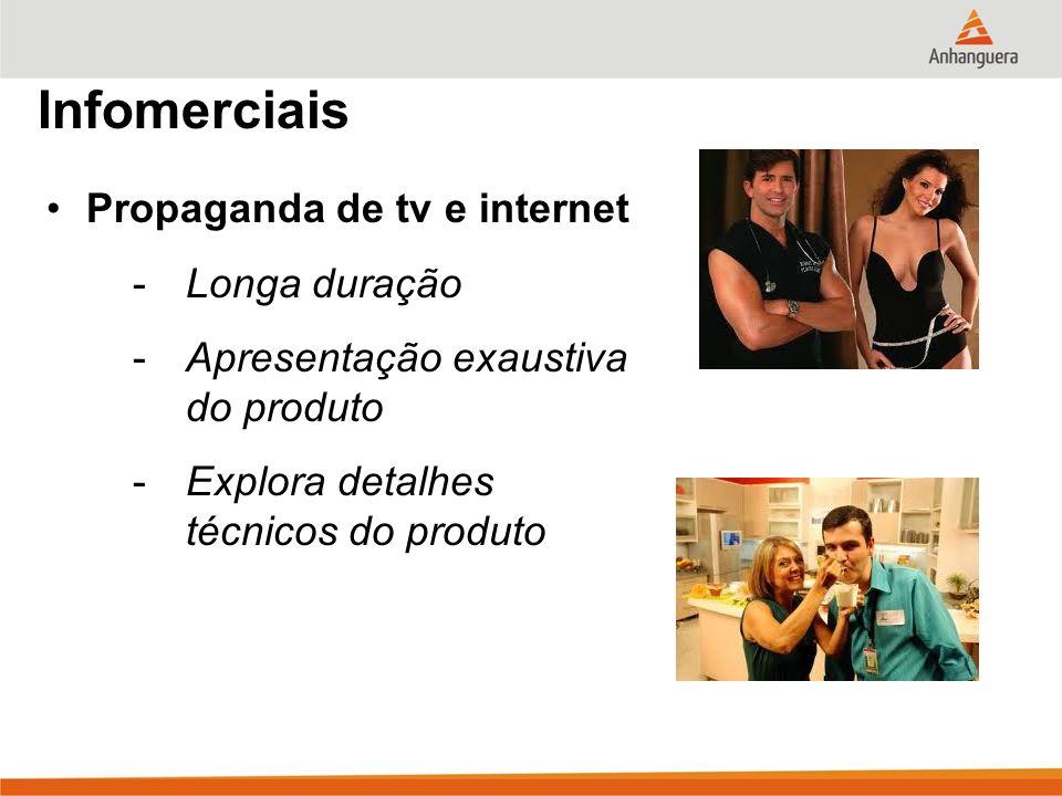 Infomerciais Propaganda de tv e internet Longa duração