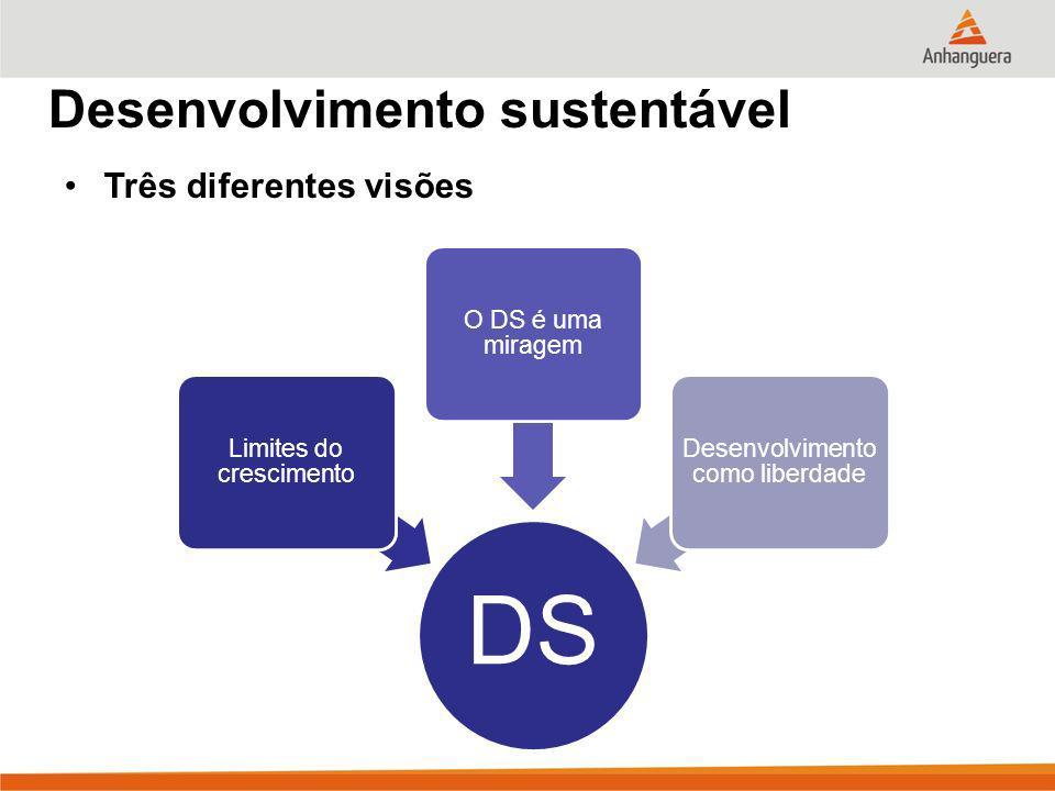 DS Desenvolvimento sustentável Três diferentes visões