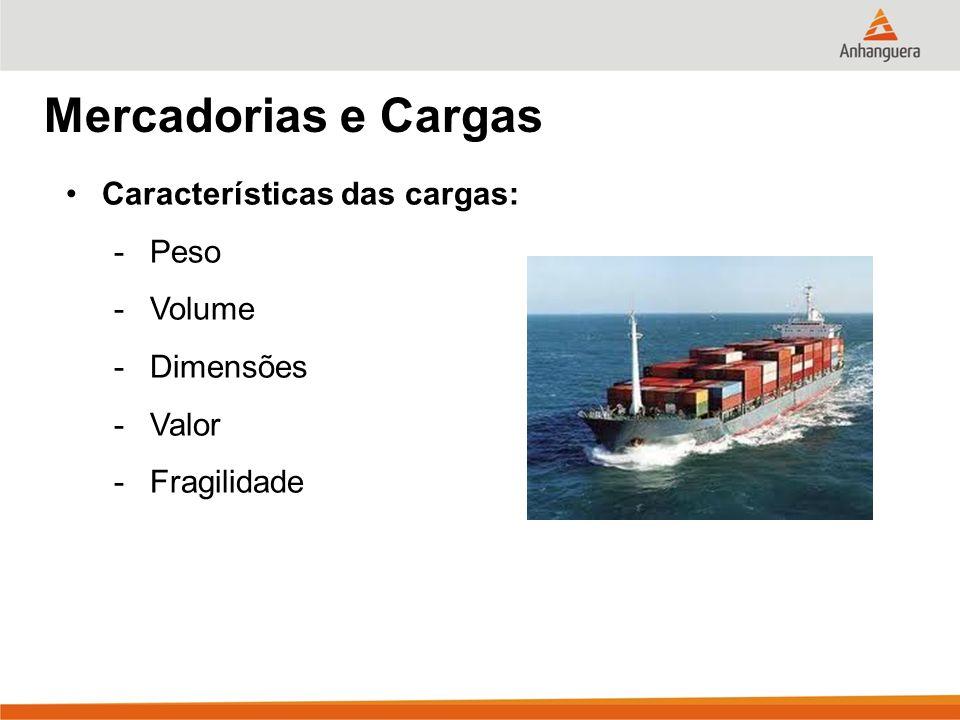 Mercadorias e Cargas Características das cargas: Peso Volume Dimensões