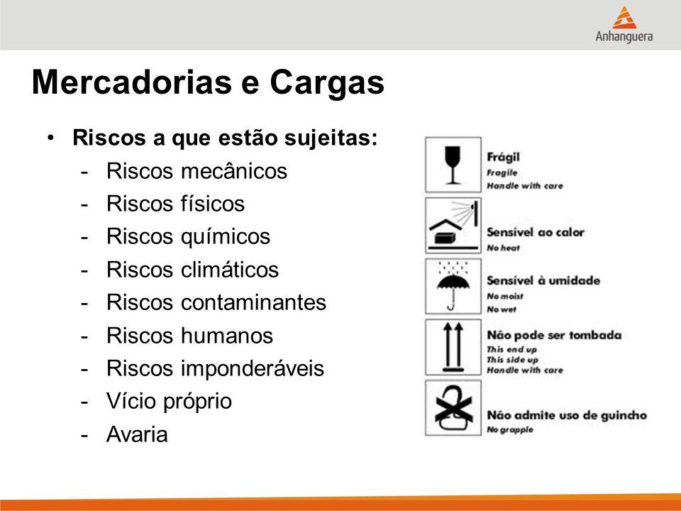 Mercadorias e Cargas Riscos a que estão sujeitas: Riscos mecânicos