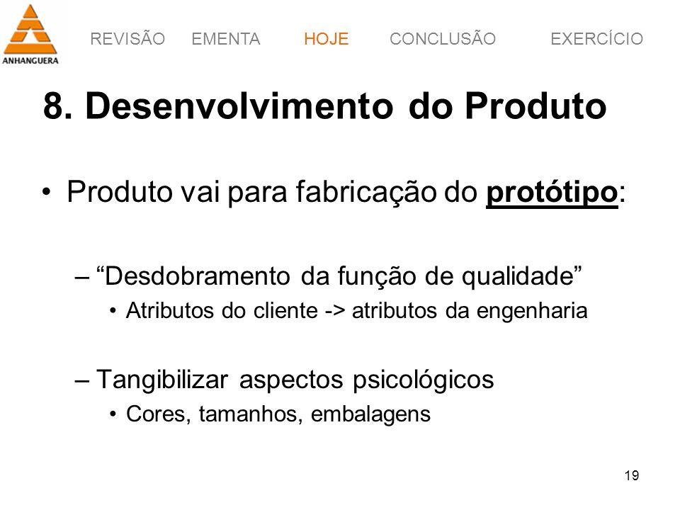 8. Desenvolvimento do Produto
