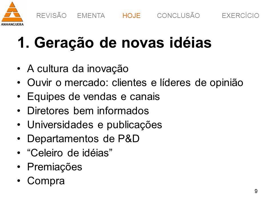 1. Geração de novas idéias
