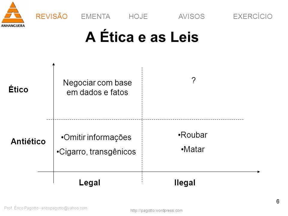 A Ética e as Leis Negociar com base em dados e fatos Ético Roubar