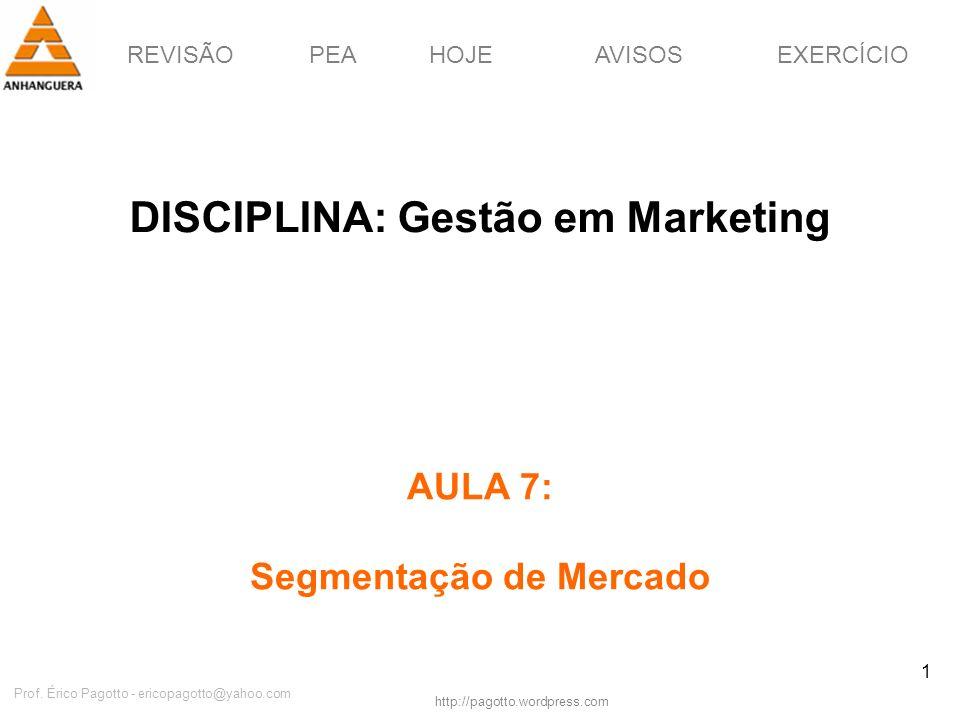 DISCIPLINA: Gestão em Marketing Segmentação de Mercado