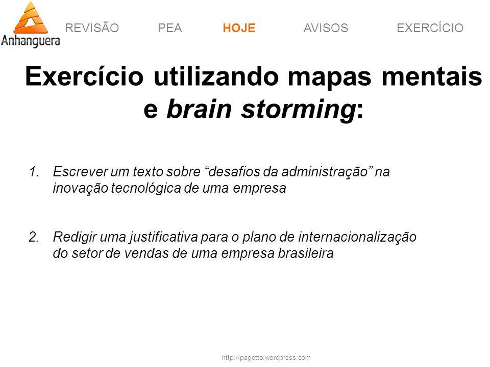 Exercício utilizando mapas mentais e brain storming: