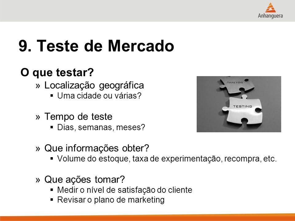 9. Teste de Mercado O que testar Localização geográfica