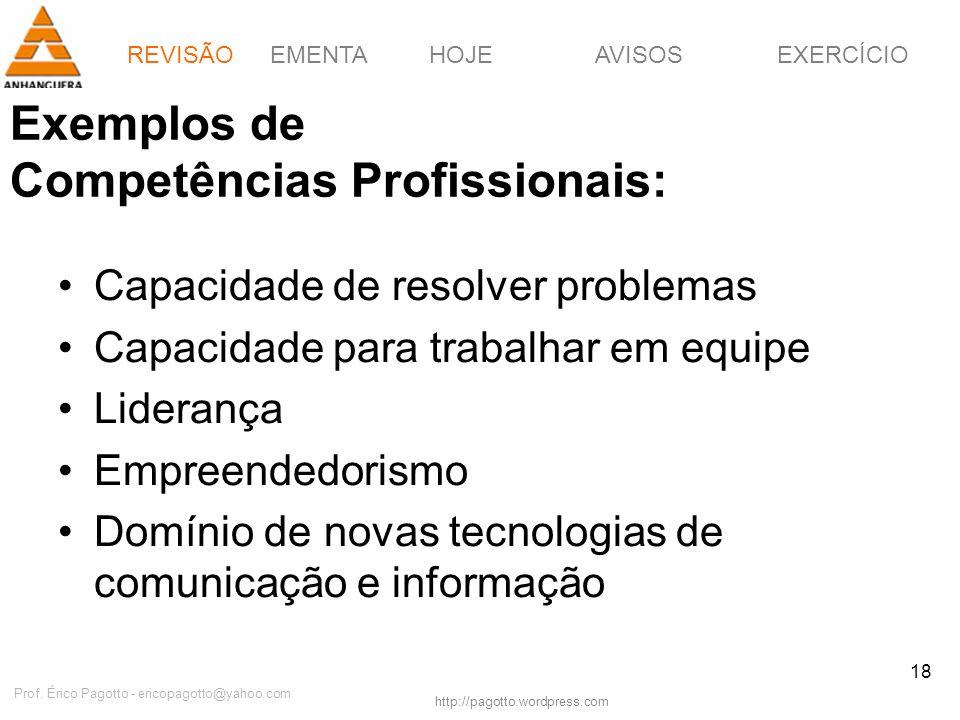 Exemplos de Competências Profissionais: