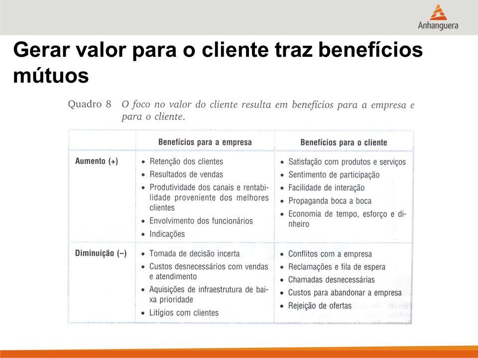 Gerar valor para o cliente traz benefícios mútuos