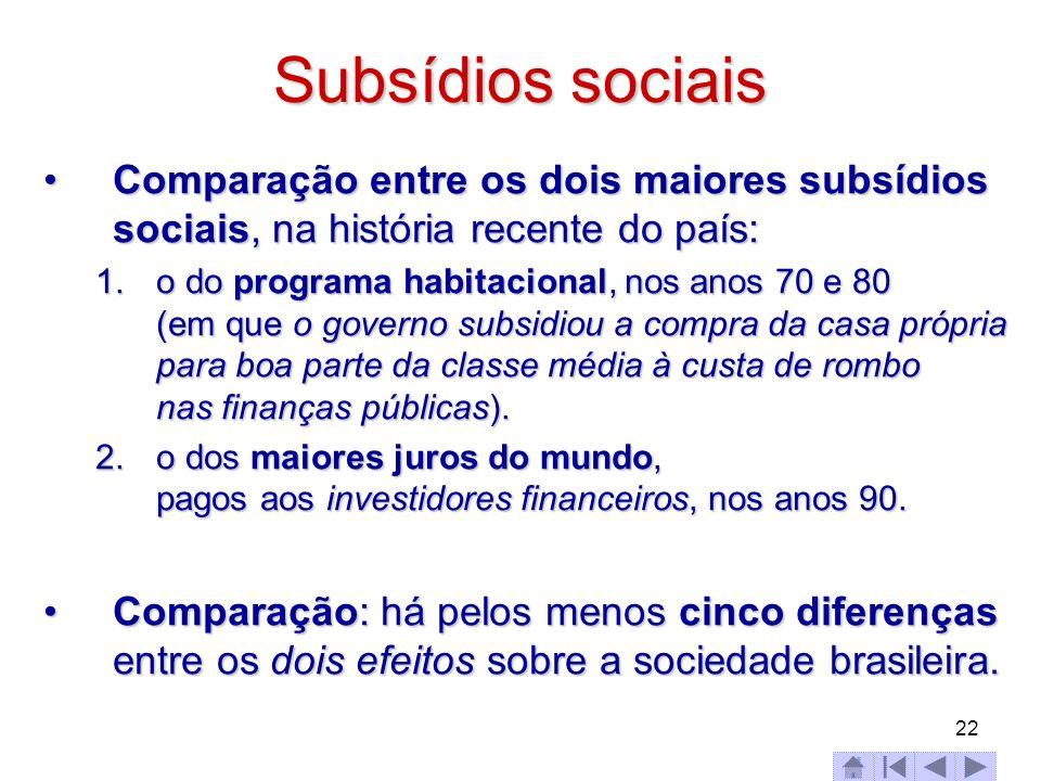 Subsídios sociais Comparação entre os dois maiores subsídios sociais, na história recente do país: