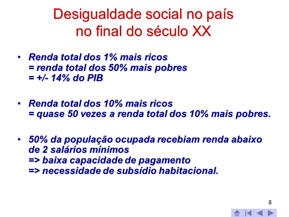 Desigualdade social no país no final do século XX