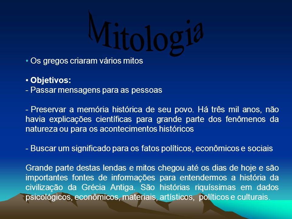 Mitologia Os gregos criaram vários mitos Objetivos: