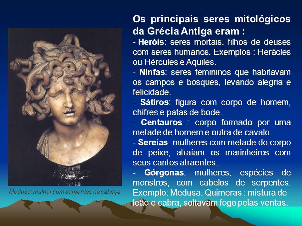 Os principais seres mitológicos da Grécia Antiga eram :