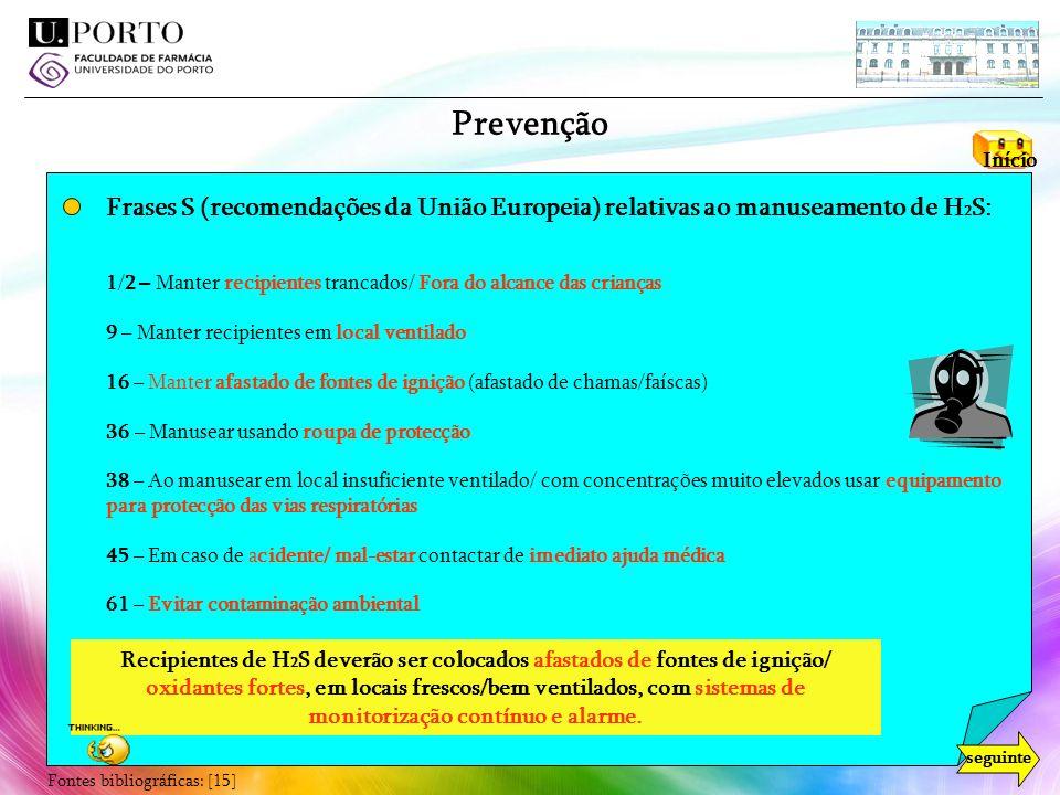 Prevenção Início. Frases S (recomendações da União Europeia) relativas ao manuseamento de H2S: