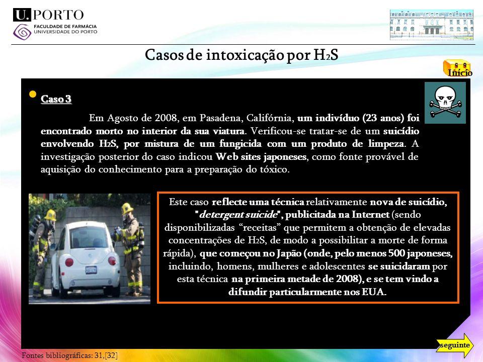Casos de intoxicação por H2S