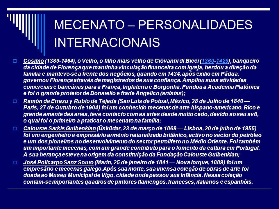 MECENATO – PERSONALIDADES INTERNACIONAIS