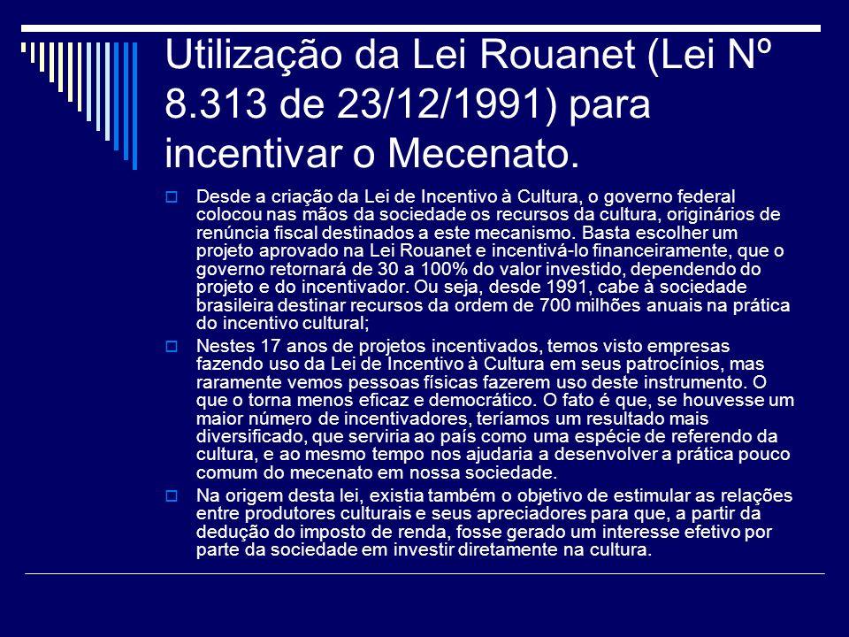 Utilização da Lei Rouanet (Lei Nº 8