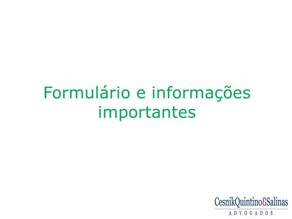 Formulário e informações importantes