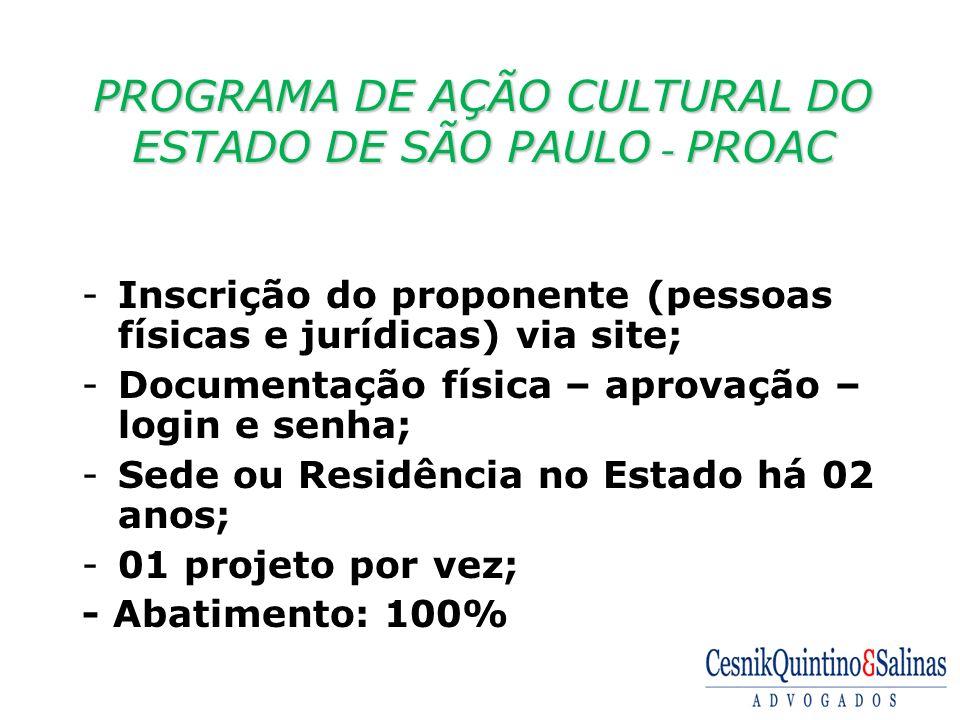 PROGRAMA DE AÇÃO CULTURAL DO ESTADO DE SÃO PAULO - PROAC