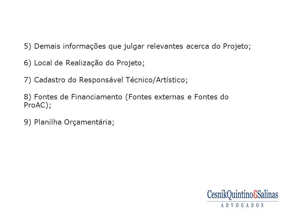 5) Demais informações que julgar relevantes acerca do Projeto; 6) Local de Realização do Projeto; 7) Cadastro do Responsável Técnico/Artístico; 8) Fontes de Financiamento (Fontes externas e Fontes do ProAC); 9) Planilha Orçamentária;