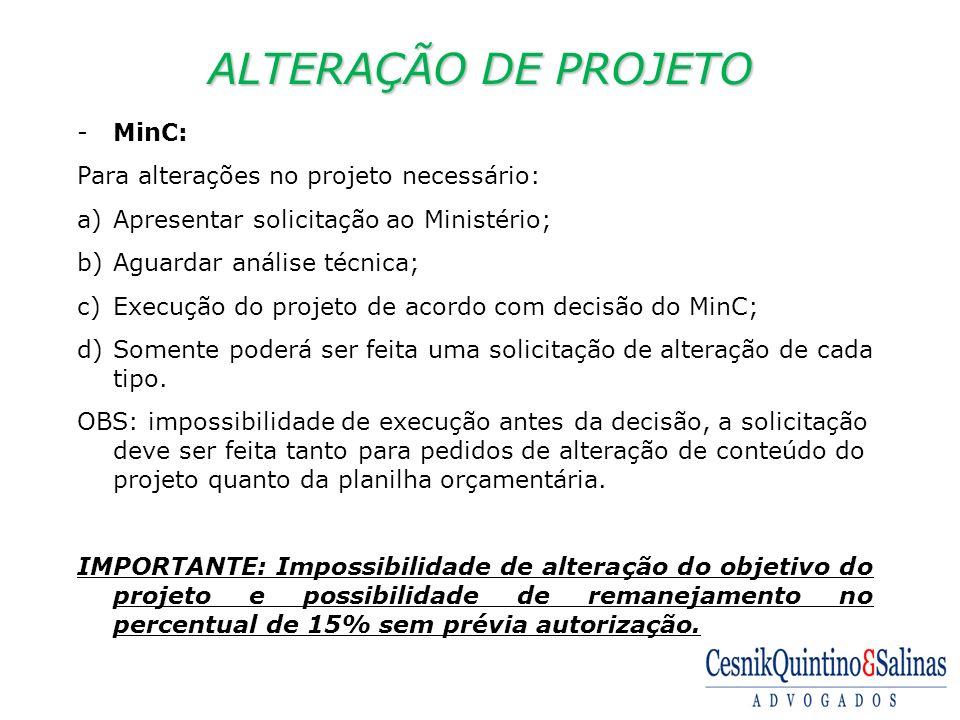 ALTERAÇÃO DE PROJETO MinC: Para alterações no projeto necessário: